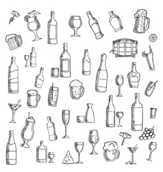 Cocktails and alcohol beverages with snacks icon vector image vector image