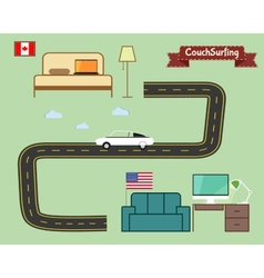 Couch surfing concept Travel infographic Share vector image vector image