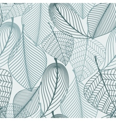 Delicate skeleton leaves seamless pattern vector image