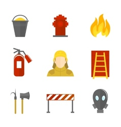 Firefighting icons flat vector image