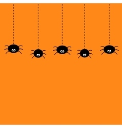 Hanging black spiders on dash line web Cute vector image