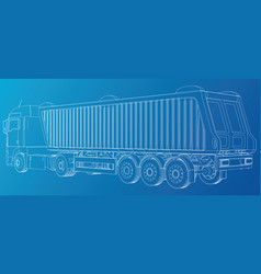 line construction machinery truck tipper vector image