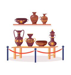 set of ancient greek pottery isolated vector image