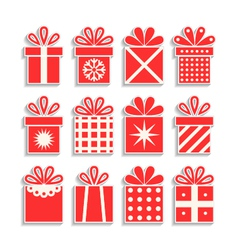 set of gift boxes with ribbons packaging isolated vector image