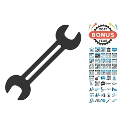Wrench Icon With 2017 Year Bonus Pictograms vector image