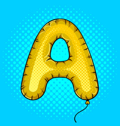 air balloon in shape of letter a pop art vector image vector image