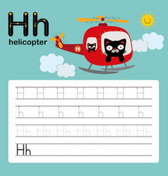alphabet h worksheet learning english vocabulary vector image