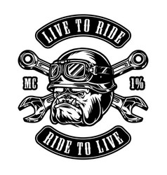 Angry animal motorcyclist vintage emblem vector