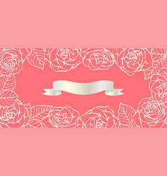 background with outline roses beautiful flowers vector image