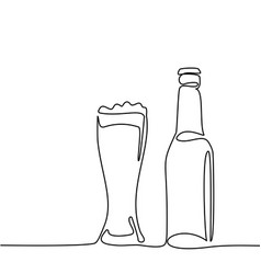 Beer bottle and glass with beer vector