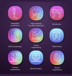 bioengineering app icons set biotechnology vector image