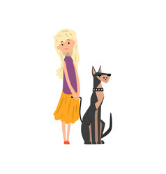 blonde girl walking her pet dog vector image