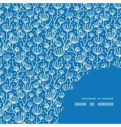 blue white lineart plants frame corner pattern vector image