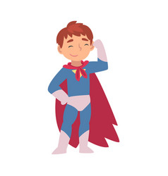 Boy in a superhero costume shows muscles on his vector
