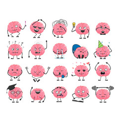 Brain cartoon character set with happy face smile vector