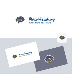 brain logotype with business card template vector image