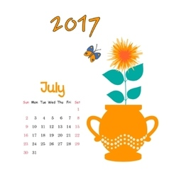 Calendar July 2017 Template Week starts vector