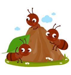 Cartoon ants in anthill vector