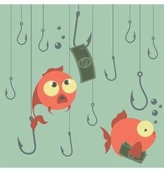 Cartoon concept Fishing Finances Business risks vector image