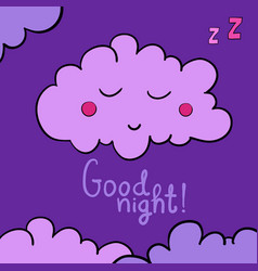 Cartoon sleeping cloud on violet background good vector