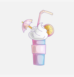 cartoon sweet cocktail icon with milk foam orange vector image