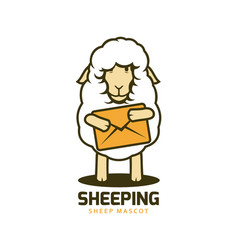 Cartoon wooly sheep mascot with big envelope vector