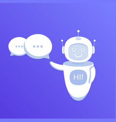 chat bot holds speech bubbles vector image