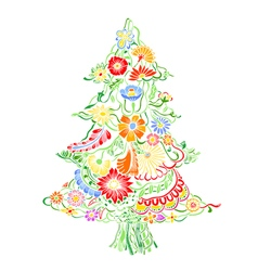 Christmas Tree of flowers vector image