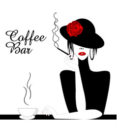 Coffee bar with woman smoking cigarette vector