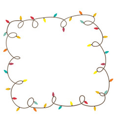 color frame with extension cord lights christmas vector image