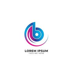 Colorful letter b alphabet music logo design vector