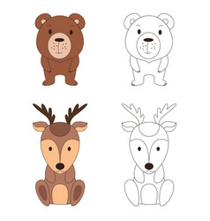 coloring page with animal wild deer and bear in vector image