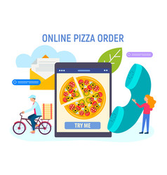 concept ordering pizza online fast order vector image