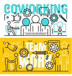 Coworking banner set outline style vector