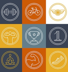 crossfit and fitness logos and emblems vector image