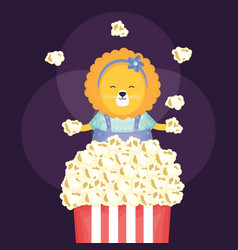 Cute female lioness with pop corn vector