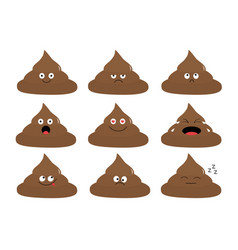 cute poop emoji set funny cartoon characters vector image