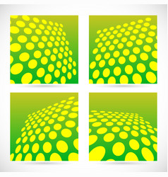 Dotted green background set with perspective vector