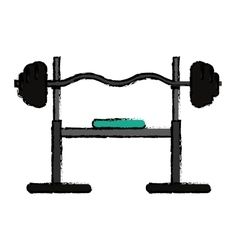 Drawing brench press exercise gym design vector