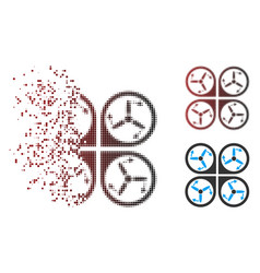 Dust pixel halftone copter screws rotation icon vector