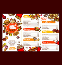 fast food restaurant menu brochure template design vector image