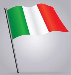 Flying italian flag italy on flagpole vector