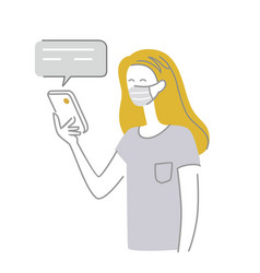 girl in medical mask uses smartphone vector image