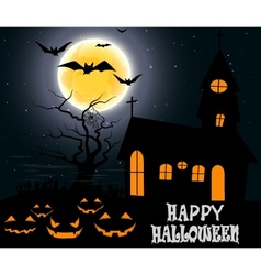 Halloween party on full moon vector image