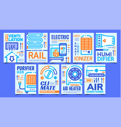 Heating and cooling equipment posters set vector