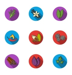 Herb and spices set icons in flat style Big vector