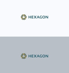 Hexagon overprint ornament frame logo vector image