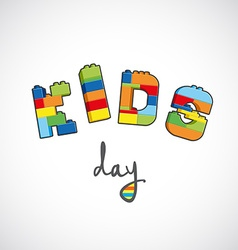 Kids day text created from bricks vector