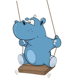 Little hippo cartoon vector