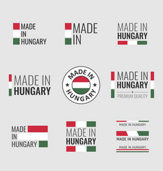 made in hungary labels set product emblem of vector image